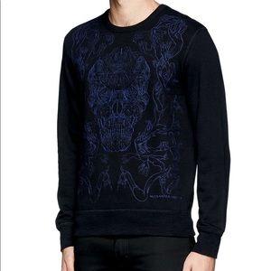 Alexander McQueen Blue Hand Skull Stitch Sweater